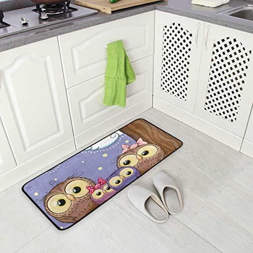 DEZIRO Lovely Owls Family Pattern Fußmatten Area Rug Antirutsch-Fußmatte für Zuhause oder Büro