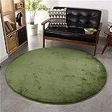 CAMAL Teppiche Runde Waschbare Flanell Verdicken Dekorative Teppich Wohnzimmer Schlafzimmer und Bad (Olivgrün, 120 cm)