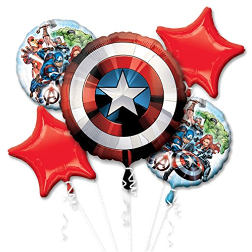 Amscan International 3484201 Folienballon, Gruppe, Bouquet: Avengers Shield