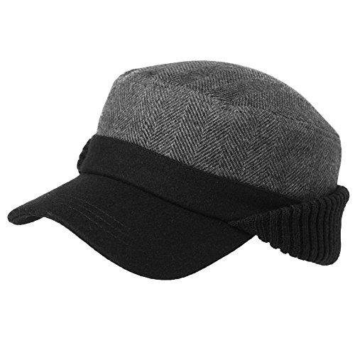 6fa09a4e8c0 Siggi Mens Thick Wool Winter Baseball Cap with Ear Flaps Faux Fur Earflap  Trapper Hunting Hat (57-61CM) - DiscountFashion.co.uk