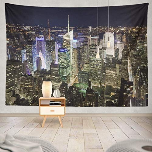 Tapisserie New York City with Times Square Night York New Night City Skyline Street White Black Building Manhattan Decorative Tapestry,60X60 Inches Wall Hanging Tapestry for Bedroom Living Room -