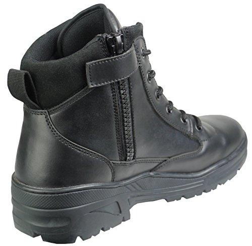 Männer Kampfstiefel Schuhe Der (Schwarze Mittelhohe Vollleder Combat Boots Militärstiefel Kampfstiefel mit Reißverschluss ,FarbeSchwarz -Gr. 42 EU , 8 UK)