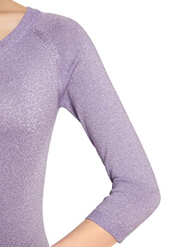 oodji Collection Femme Pull Brillant à Manche 3/4 Violet (8001X)