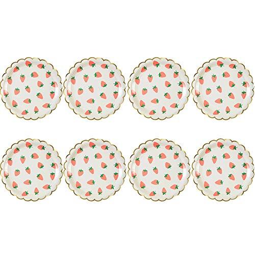 aloiness Erdbeere Pappteller 23CM Edel-Dekorativ Partygeschirr Stabiles Einweggeschirr für Grillfeste oder Geburtstage Splitterfreie Verwendung Kinder Basteln Pappteller 8 Stück -