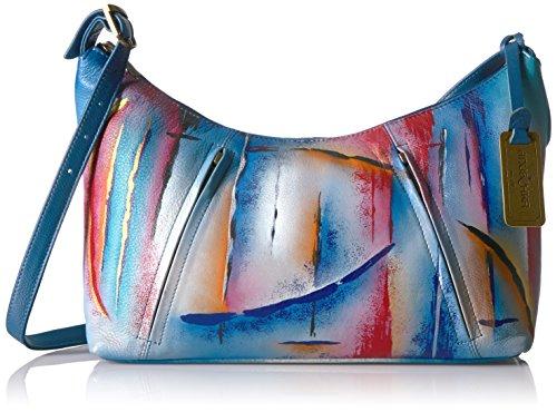 Anuschka handbemalte Ledertasche, Schultertasche für Damen, Geschenk für Frauen, Handgefertigte Tasche mit Fach - Top Zip Hobo (Northern Skies 450 NSK) (Leder Hobo Front Pocket)