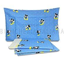 Caleffi.- Juego de sábanas para cuna en medida 60x120 cm Disney Baby Mickey Forever (100% algodón)