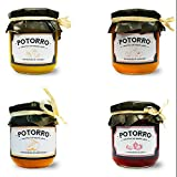 Potorro Gourmet - Pack Dulce (Mermelada de Fresa, Mermelada de Melocotón, Mermelada de Naranja y Mermelada de Albaricoque)
