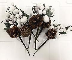 Idea Regalo - 48 PEZZI Pick Fiore Pigna e bacche bianche DECORAZIONE ALBERO NATALE fio