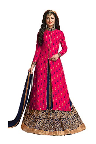 DaFacioun Indian Women Designer Party wear Pink Brown Anarkali Salwar