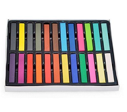 Vococal® 24 Pcs Femmes Filles Cheveux Jetables Couleur Colorant-Coloriage de Stylo Craie-Crayons Pastels Tendres