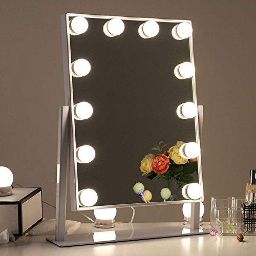 Chende Tabletop Professionelle Schminkspiegel mit Lichtern, Beleuchteter Kosmetikspiegel mit dimmbaren LED-Lampen, Hollywood Spiegel mit 3 Farbe Licht Umwandlung (Weiß)