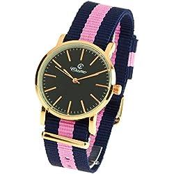 montre-concept-Multi-Coloured Round Colour Rose Gold Black Dial Nylon Bracelet Men's Analogue Watch-mab-1-0091