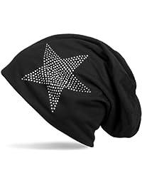 styleBREAKER klassische Beanie Mütze mit Stern Strass Applikation, leicht, Unisex 04024019