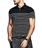 #7: Fanideaz Branded Men's Half Sleeve Cotton Black and White Striped Polo T Shirt