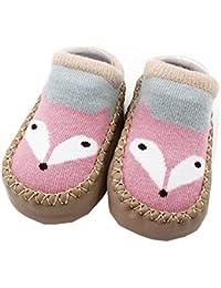 Falaiduo Newborn Toddler Baby Girls Boys Anti-Slip Socks Slipper Boots for 0-4 Years (6-12M, E)