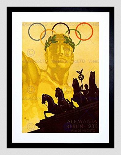 SPORT AD 1936 OLYMPIC GAMES BERLIN RINGS HORSE STATUE FRAMED ART PRINT B12X6302