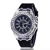 elegantstunning Studenten LED Silikon Diamant Stil Armbanduhr digitale Skala Quarz Uhren Armbanduhr Schwarz