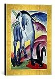 Gerahmtes Bild von Franz Marc Blaues Pferd I, Kunstdruck im hochwertigen handgefertigten Bilder-Rahmen, 30x40 cm, Gold raya