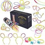 100 Knicklichter Armbänder Glowstick mit 100 Steckverbindern, Dreifache Armbänder, Ein Stirnband, Ohrringe, Blumen, Eine glühkugel & vieles