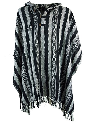 Guru-Shop Poncho Hippie Chic, Andenponcho, Herren/Damen, Schwarz, Baumwolle, Size:One Size, Strickjacken, Ponchos Alternative Bekleidung