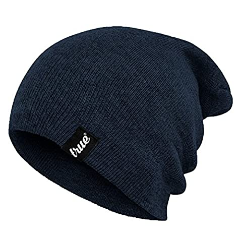 TRUE VISION Mens Navy Blue Beanie Hat - Wear as Slouch or Turn Cuff for Traditional Beanie Style - Soft & Comfortable One Size Fit - Winter Warm Knitted Acrylic - Unisex - Suitable for Men &