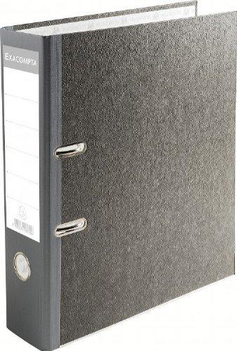 Exacompta-53710E-Lot-de-20-Classeurs--Levier-PVC-2-Anneaux-Format-A4-Gris-en-Papier-Marbr-dos-de-70-mm
