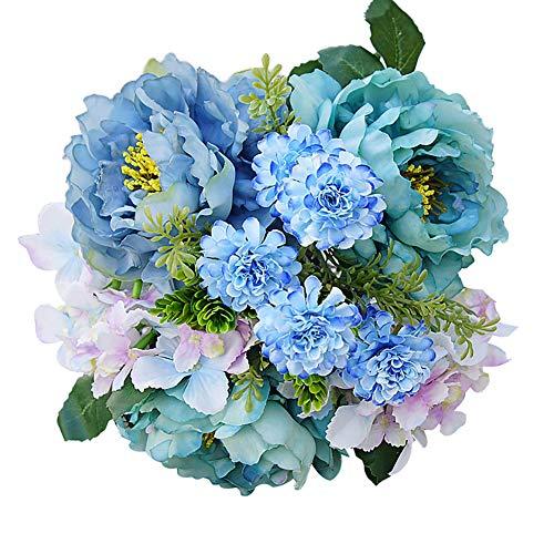 Ukallaite réaliste Superbe Fleur artificielle 1bouquet artificielle Hortensia Pivoine Faux Jardin Plante Fleur DIY Décoration de maison – Blanc Vert bleu