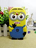 #9: Samsung Galaxy J7 3D Cartoon Soft Rubber Silicone Back Case Minion Yellow Cover By Angel store