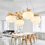 Nordic lampe de lustre de restaurant minimaliste pastoral Restaurant minimaliste lustre verre lampe de table en bois barre de lampe en bois