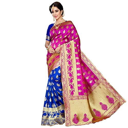 Roadstar India Jacquard Saree With Blouse Piece (Apex_11_Pink_Free Size)