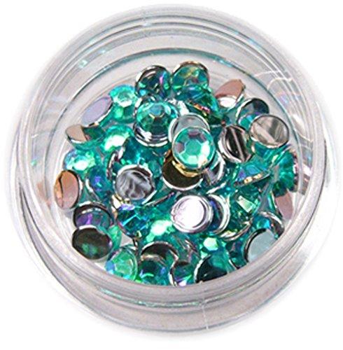 RM Beautynails Pierres en strass rondes de 4 mm Turquoise Env. 50 pièces pour manucure et nailart