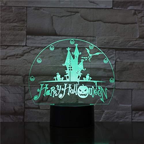 Happy Halloween 7 Color 3d Optische Halluzination Nachtlicht Berühren Ferngesteuerte Led-nachtbeleuchtung Home Dekorative Lichter Erstaunliche Visuelle Optische Täuschung (Desktop Happy Halloween)