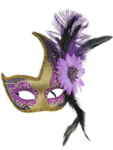 Feder Sexy Spitze Partei-Maske Venetian Carnival Anonymous Mask gespickt mit Strass-Kostümball (Clown Die Dame Kostüme Erwachsene)
