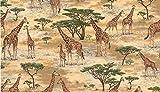Fat Quarter Safari Giraffen Scenic Muster 100% Baumwolle