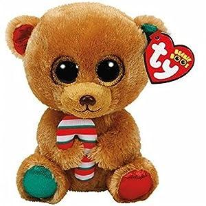 Ty Beanie Boos Navidad Bella-Osita Marrón 23 cm (37251TY), Color, Verde, Rojo (United Labels Ibérica