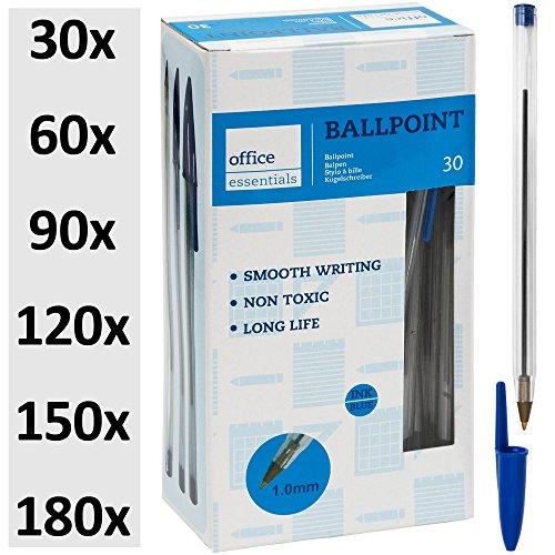 Kugelschreiber blau 30 Stück ✔ Markenqualität ✔ Ballpointmiene ✔ Schreibfarbe blau - Stift Ballpoint Schreibgerät Bürobedarf ✔ 30-180 Stück ✔