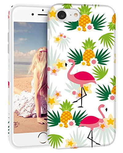 iPhone 8 Fall, iPhone 7 Fall, imikokotm Weiß Floral Fashion Cute Design Flexible TPU Schutzhülle/Rückseite für Apple iPhone 7 & iPhone 8 11,9 cm, Ananas Floral Fashion