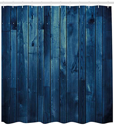 ABAKUHAUS Azul Oscuro Cortina de Baño, Textura De Tablones De Madera,
