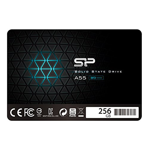 "Silicon Power SSD 256GB 3D NAND A55 SLC Cache Performance Boost 2,5 Zoll SATA III 7mm (0,28"") Interne SSD"
