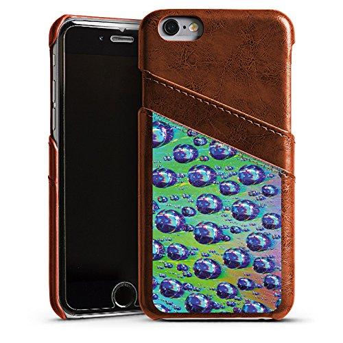 Apple iPhone 6 Housse Étui Silicone Coque Protection Gouttes Lumière Eau Étui en cuir marron