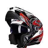Mdsfe Casco moto modulare flip racing casco moto casco integrale moto completamente regolabile ventilazione circolazione - 18 XM