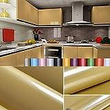 Liveinu Aufkleber Küchenschränke PVC Tapeten Küche Selbstklebend Klebefolie Möbel Wasserfest Aufkleber für Schrank Küchenschränke Möbel Selbstklebende Folie Küchenschrank Küchenfolie Dekofolie Champagner 0.6x10m
