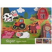 goki 57575 Steckpuzzle Hahn Schwein ... mehrfarbig 1 Stück