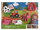 Lia Holzpuzzle Steckpuzzle Puzzle Tiere vom Bauernhof 7-teilig, Holzspielzeug bunt Motorik Geschenk für Kinder