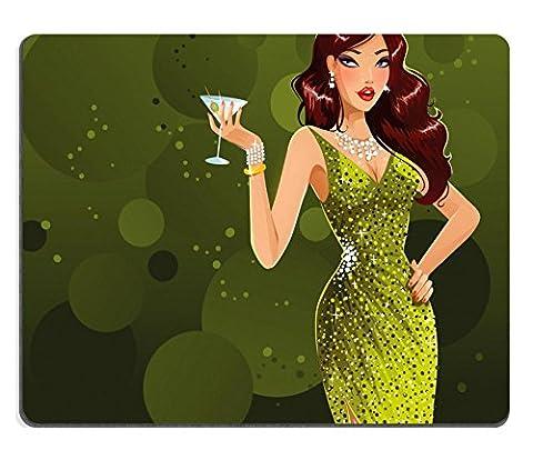 MSD Tapis de souris Image ID 24057233Beautiful Brunette en robe verte 1002