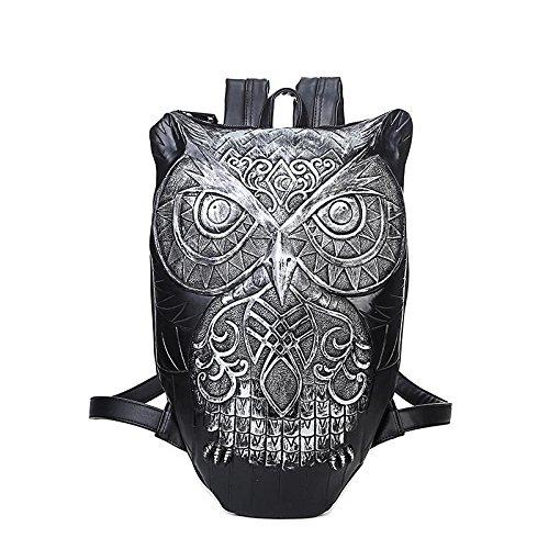 DWB Pu Art und Weise sports Rucksack / Owl 3d Tierkopf / Student Computer-Tasche 1