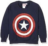 Marvel Comics-Captain America Distress Shield-Kids-Crew, Sweat-Shirt Garçon, Bleu Marine, 7-8 Ans