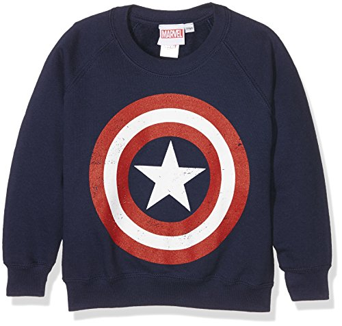 Marvel Jungen Comics-Captain America Distress Shield-Kids-Crew Sweats Sweatshirt, Blau (Navy), 3-4 Jahre (Kinder Captain America-shield)