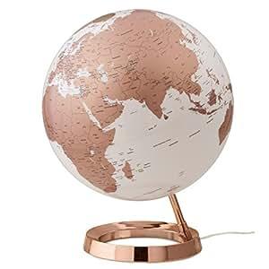 globe terrestre lumineux design blanc cuivre sur socle couleur cuivre cuisine maison. Black Bedroom Furniture Sets. Home Design Ideas