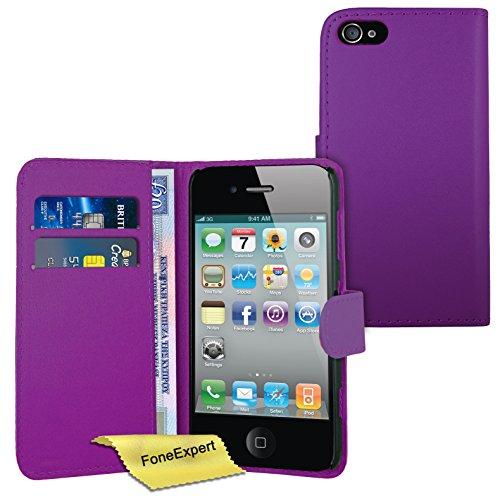 FoneExpert® Apple iPhone 4s 4 - Etui Housse Coque en Cuir Portefeuille Wallet Case Cover pour Apple iPhone 4s 4 + Film de Protection d'Ecran (Pourpre) Pourpre
